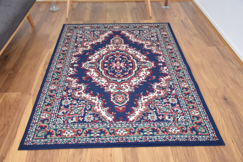 Medallion Navy Traditional Rug