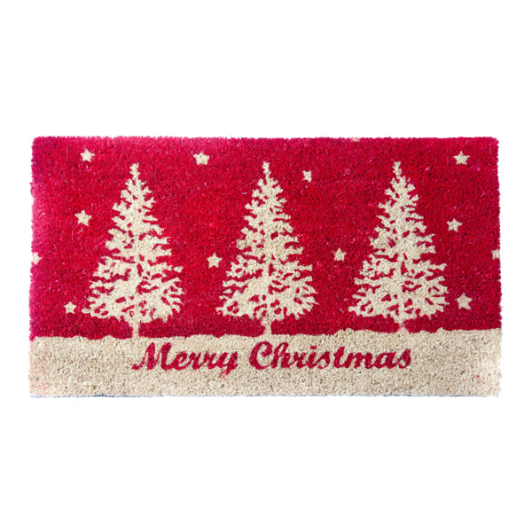 Xmas Coir Mat Tree Red