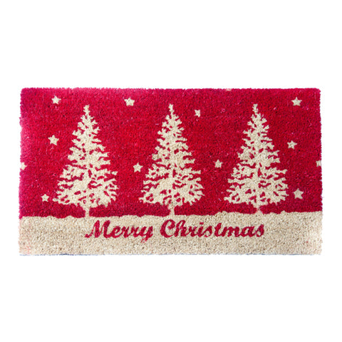 Xmas Coir Mat Tree Red - Rug Masters