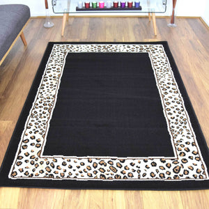 Leopard Skin Border Animal Print Rug