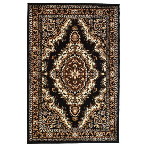 Medallion Black Traditional Rug