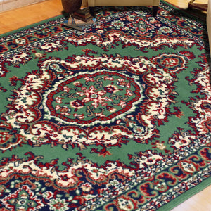 Medallion Green Traditional Rug
