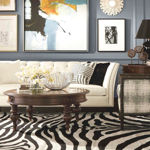 Zebra Black Animal Print Rug - Rug Masters