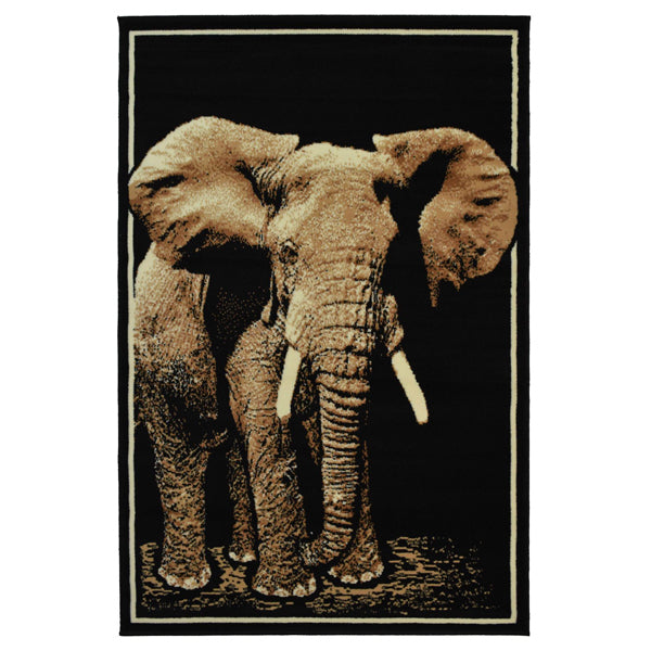 Elephant Animal Print Black Rug - Rug Masters