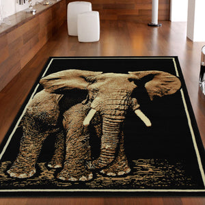Elephant Animal Print Black Rug