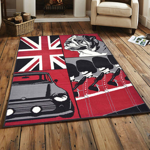 British Bulldog Collage Flag Print Rug