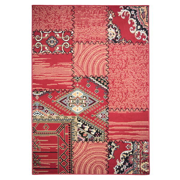 Patch Work Red Traditional Rug - Rug Masters