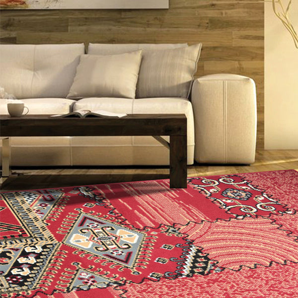 Red Traditional Patchwork Rug - Texas | Rug Masters