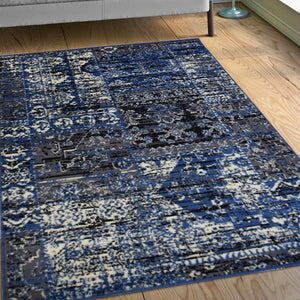 Vintage Patch Work Blue Rug - Rug Masters
