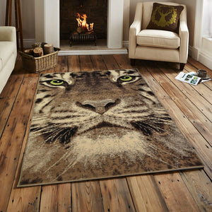 Tiger Green Eye Animal Print Rug