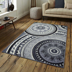 Circle Mandala Pattern Grey Rug