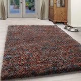 California Brown Plain Circle Shaggy Rug