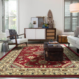 Indiana Floral Red Traditional Rug