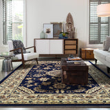 Indiana Floral Navy Traditional Rug