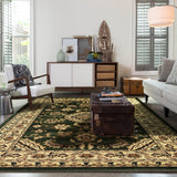 Indiana Floral Green Traditional Rug