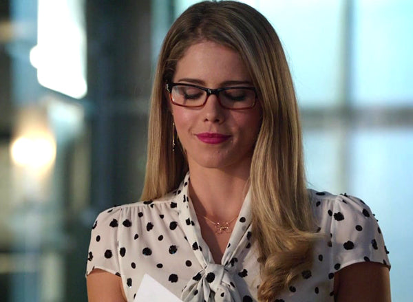 Felicity Smoak Black Spinel Threader Earrings seen on Arrow