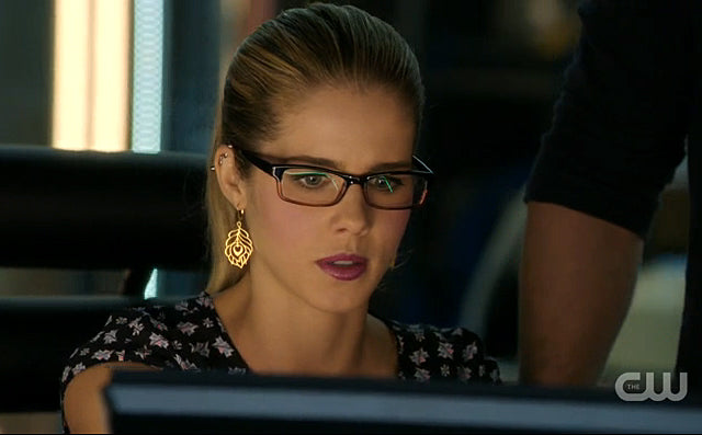 Peacock Feather Earrings seen on Felicity Smoak