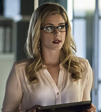 Emily Bett Rickards as Felicity Smoak on Arrow wearing Peggy Li Creations Cascade Gem Earrings