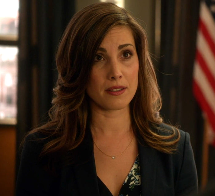 Susan Williams (Carly Pope) blue gem necklace on Arrow