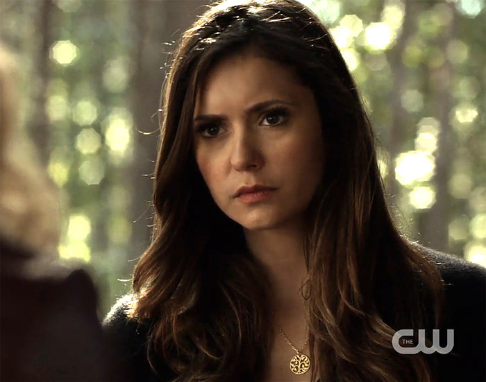 Elena (Nina Dobrev) wearing a Peggy Li Creations Tree of Life Necklace