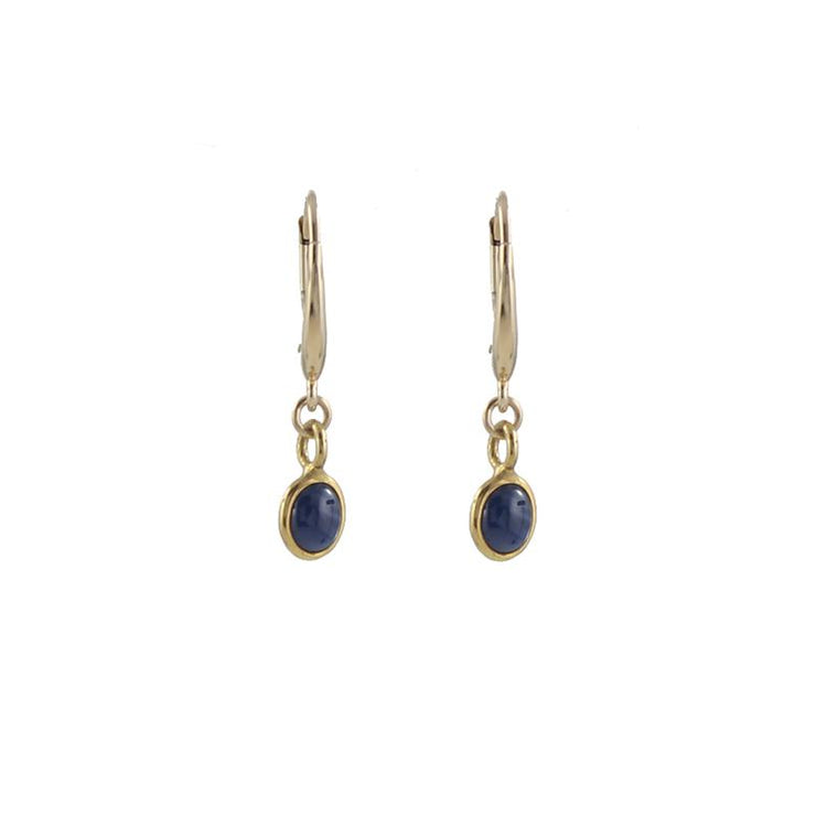 14k Gold Oval Gem Earrings
