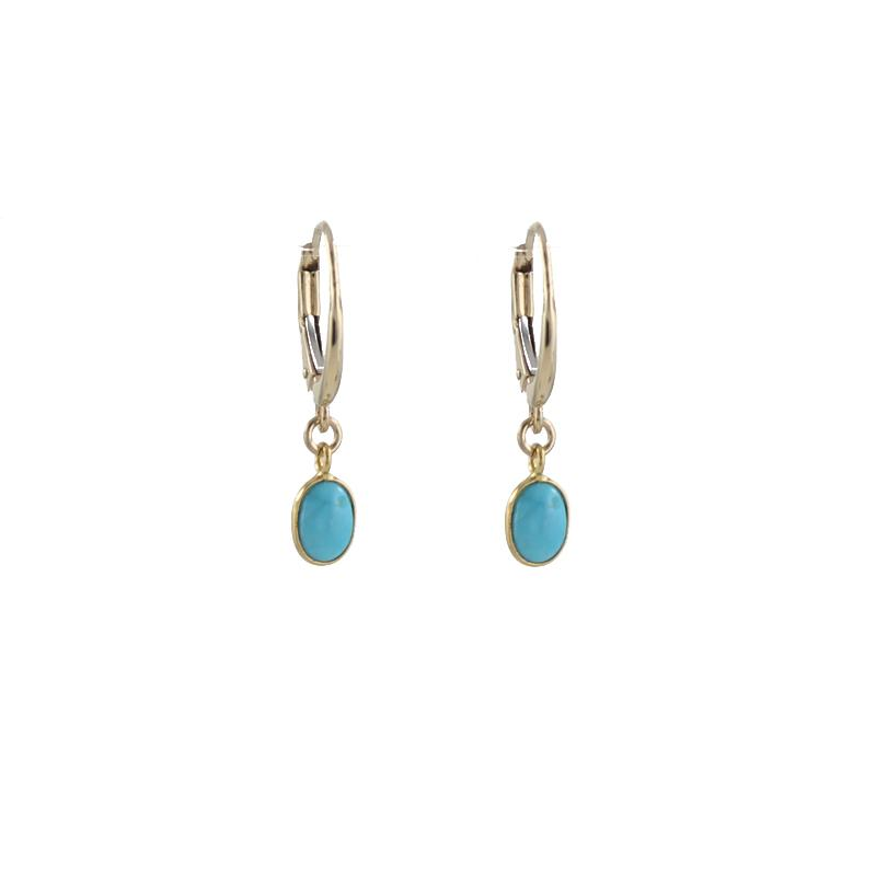 14k gold earrings with turquoise stone drops