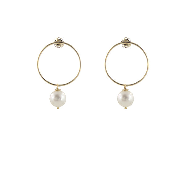 14k Gold Elegant O Earrings