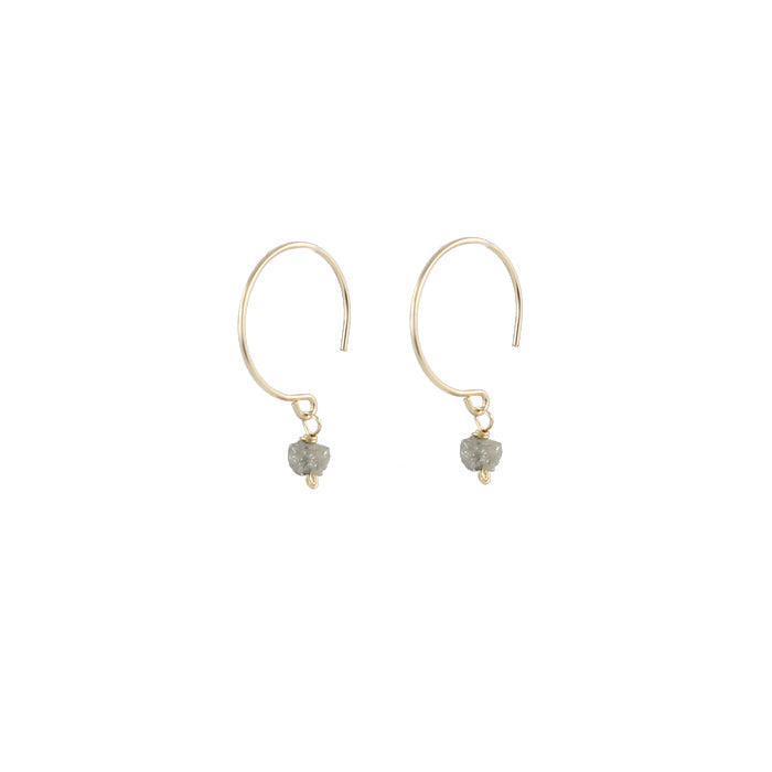 14k gold and rough diamond nugget earrings