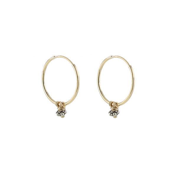 14k petite hoop earrings with bead detail