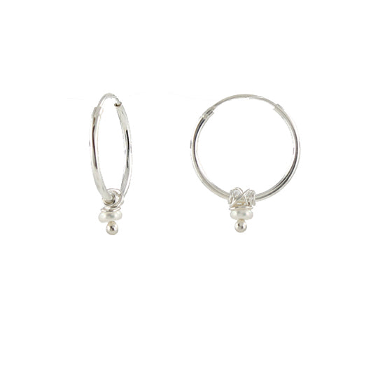 Petite sterling silver hoop earrings with pearl detail