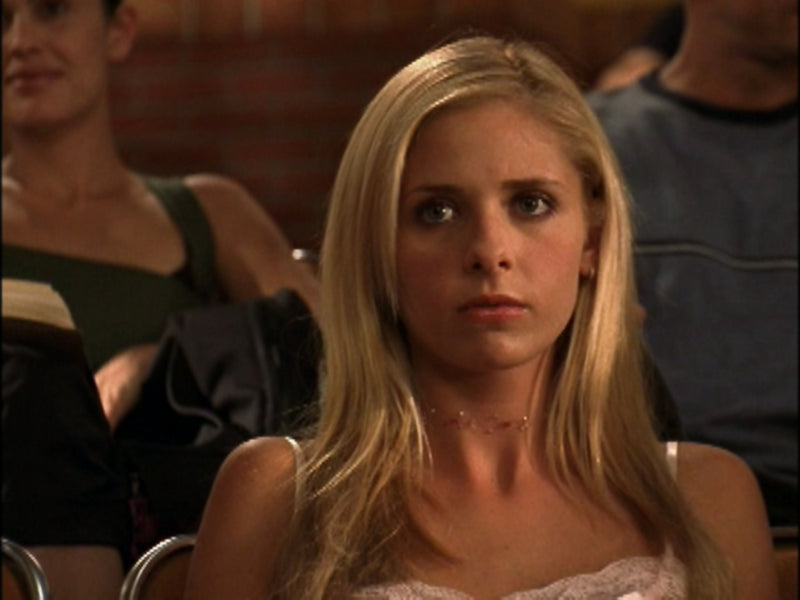 Buffy pink floating choker necklace