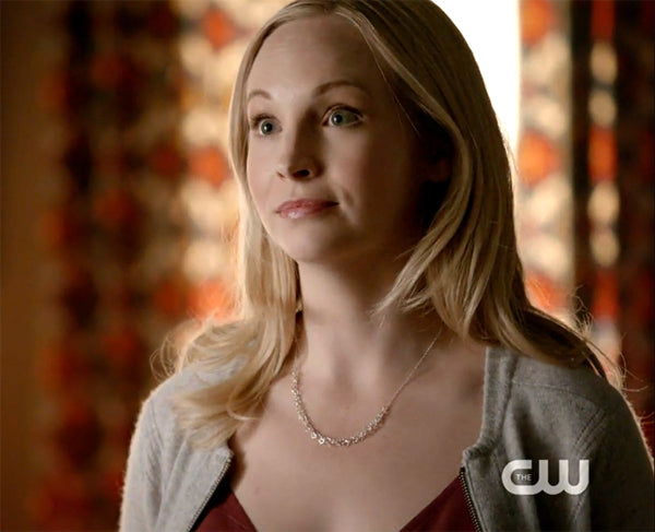Caroline (Candice Accola) wears a Thorny Hearts Necklace by Peggy Li on The Vampire Diaries