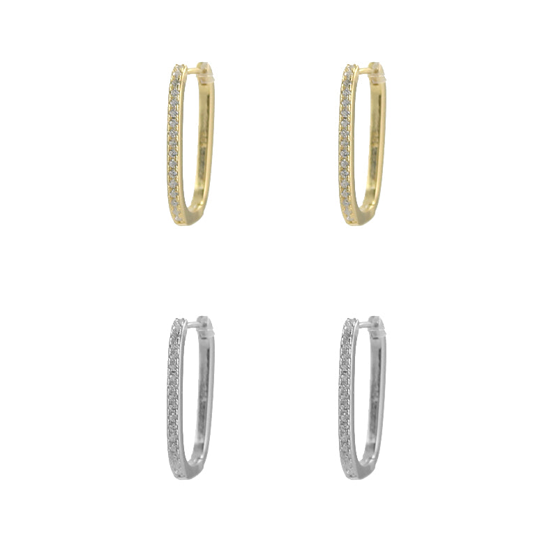 Skinny Oval Pave Hoop Earrings