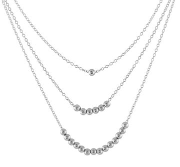 Basic Beaded Necklace - silver