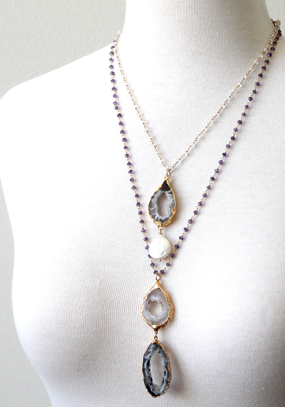 Agate slice necklace by Peggy Li