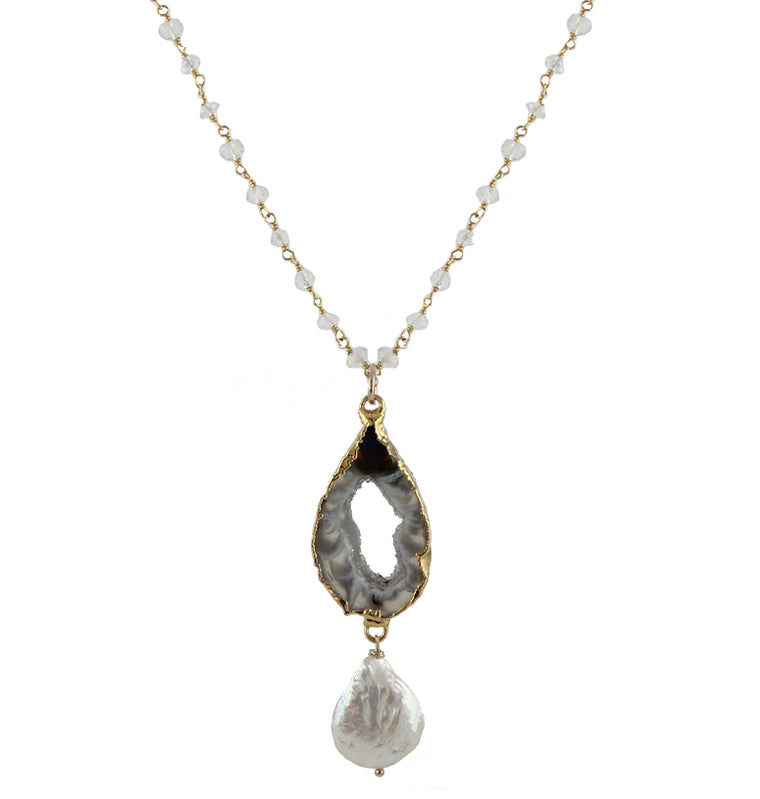 Agate Slice Necklace with Pearl