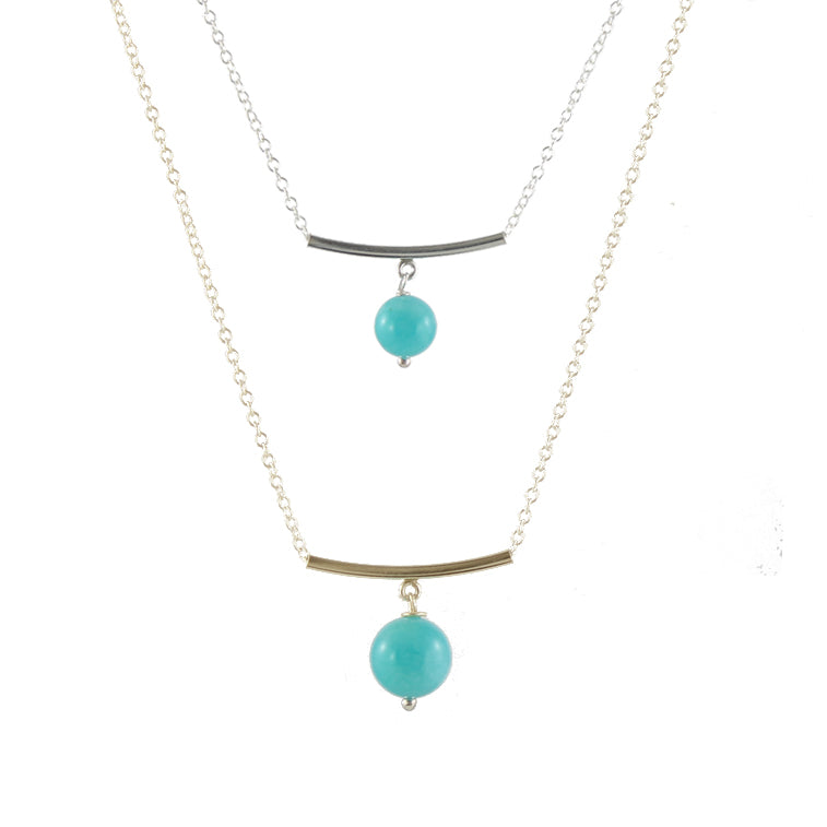 Amazonite Bar and Gem Necklace
