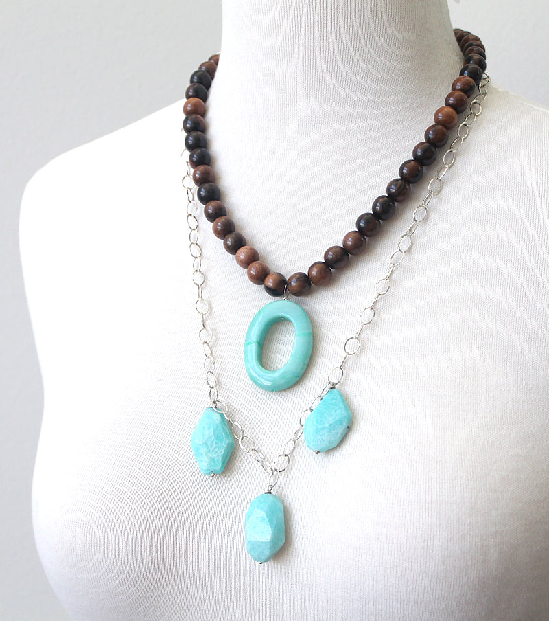 Amazonite and tiger ebony necklace