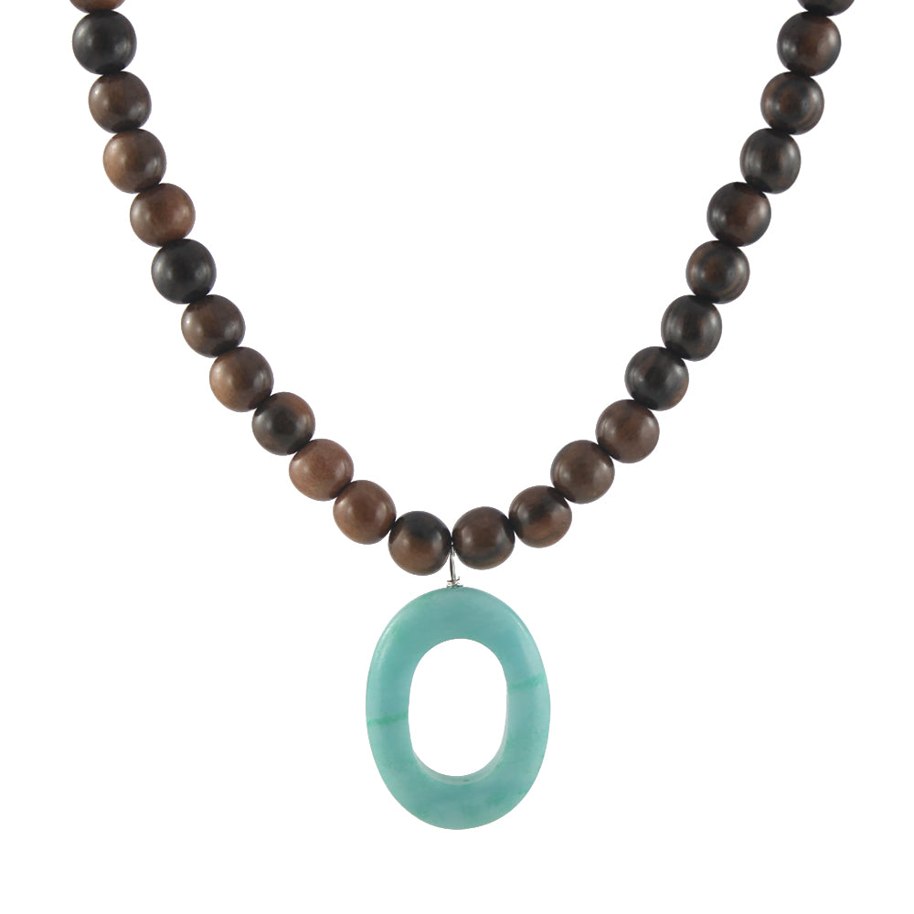 Wood and amazonite stone necklace