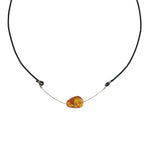 Amber and Leather Necklace