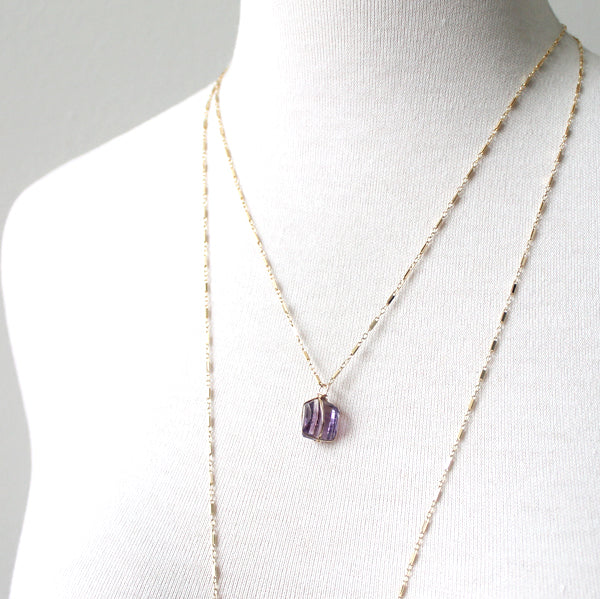 Layered Amethyst Nugget Necklaces