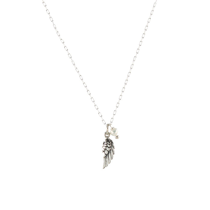 Bird wing necklace in sterling silver with pearl