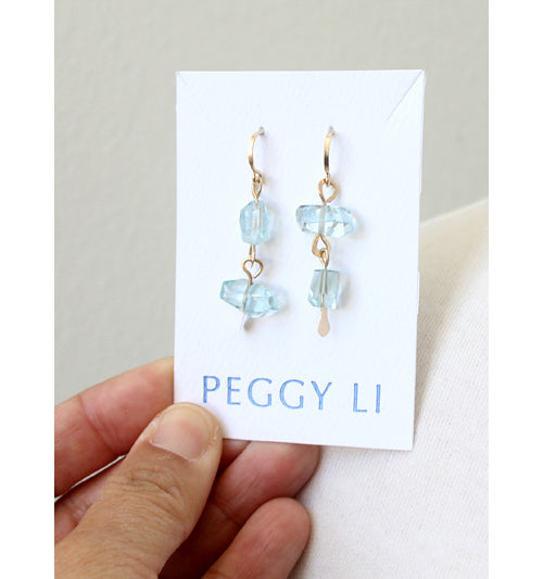Aqua Chunk Earrings in gold