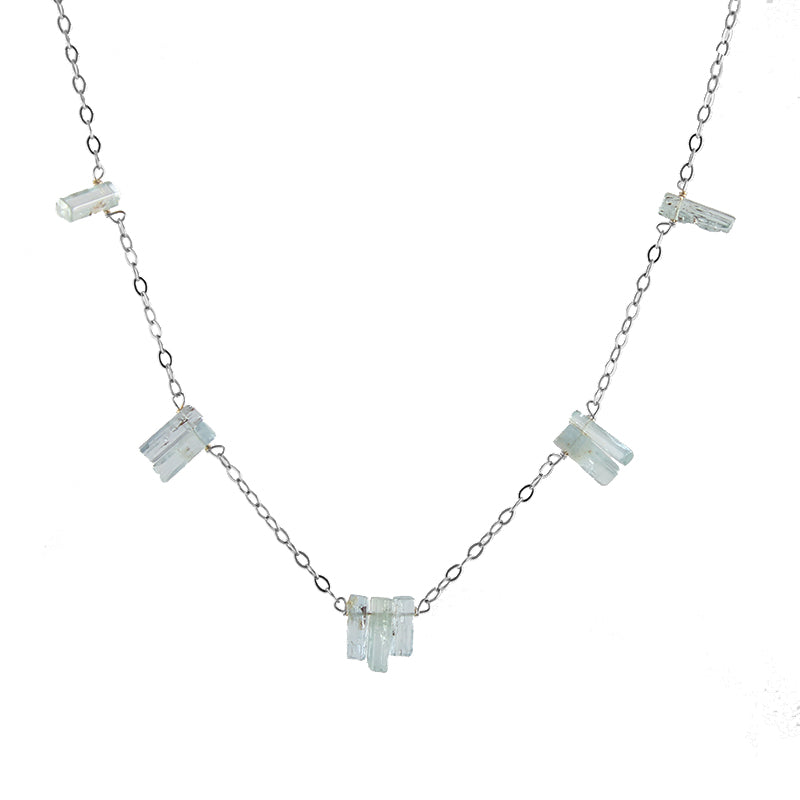 Aquamarine Spires Necklace, silver