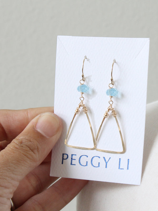 Aquamarine Triangle Earrings