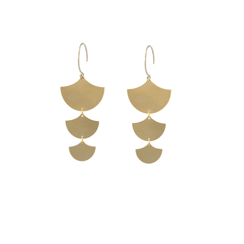 Mezzaluna Earrings, gold plate
