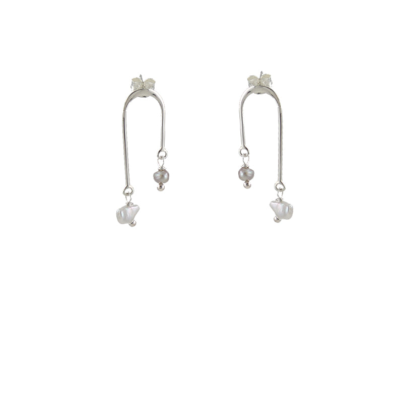 High-Low Pearl Earrings