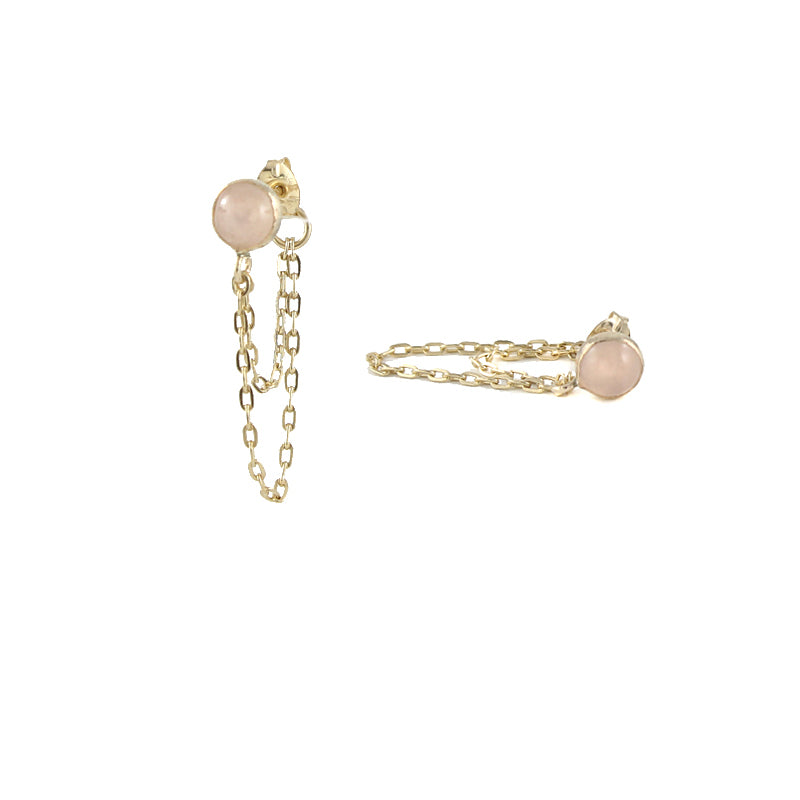 Draped Rose Quartz Earrings detail