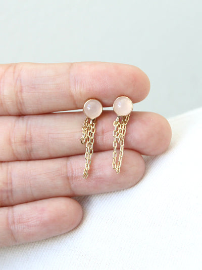 Draped Rose Quartz Earrings by Peggy Li Creations