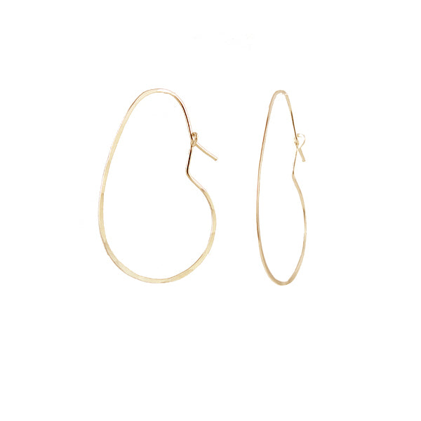 Bean hoop earring, gold
